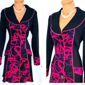 Joseph ribkoff s 10 black button up knit coat